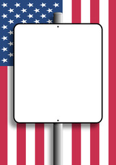 USA blank flag sign