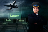 Pilot and airports citys on the button and plane poster