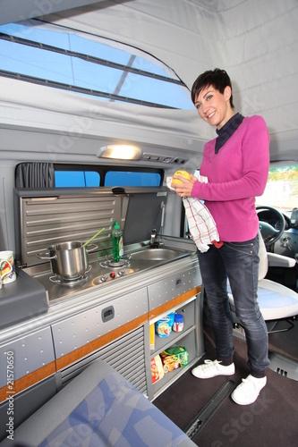 Leinwandbild Motiv Reisemobil Küche
