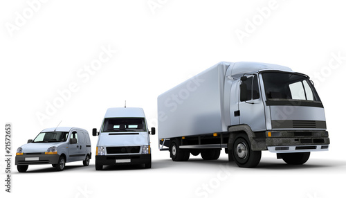 Transportation fleet in white