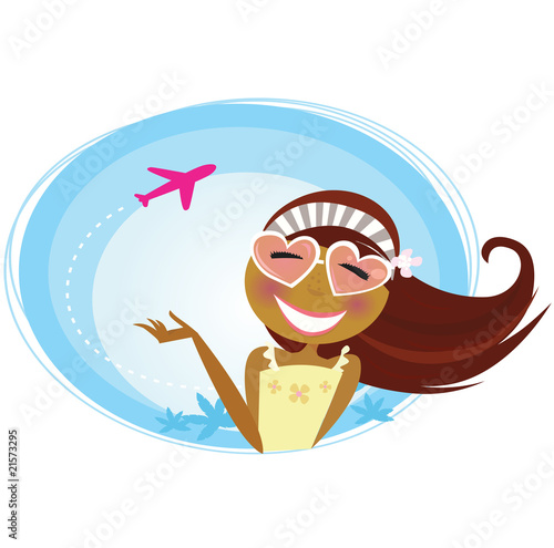 Girl on the airport traveling on vacation