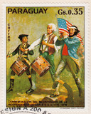 stamp shows American revolution poster