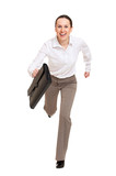 happy woman runing to the work poster