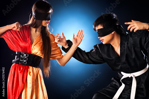 Young japanese couple fighting