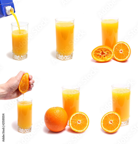 orange and juice in glass