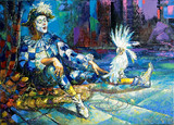 The harlequin and a white parrot poster