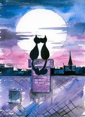 Cats in love watercolor painted.