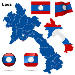 Laos vector set. Shape, flags and icons.