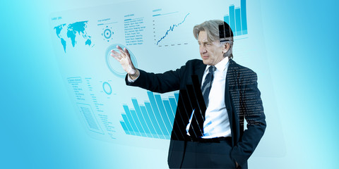 Businessman navigating interface in future