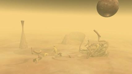 Animation zweier Objekte im Sand
