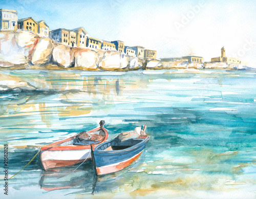 Boats in bay watercolor painted - 21582828