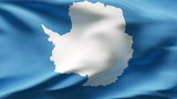 Creased Antartica flag in wind with seams and wrinkle poster