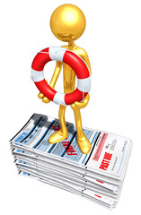 Gold Guy With Lifebuoy On Past Due bills