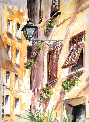 wloska-ulica-z-akwarela-malowana-latarnia