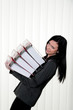 Deprived Women with stress and folders in the office