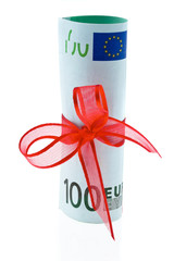 Euro notes cash gift with ribbon as