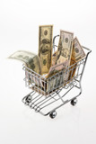 U.S. dollars bill with shopping basket