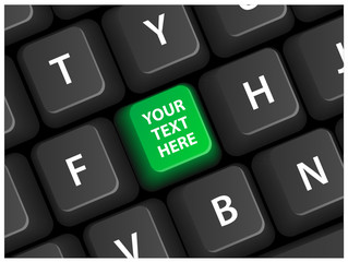 """""""YOUR TEXT HERE"""" key (green) on keyboard (vector editable)"""