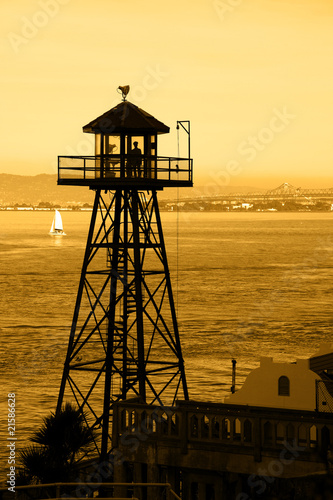Alcatraz Guard Tower Silhouette