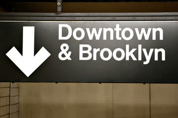 Brooklyn & downtown sign in subway