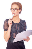 Young business woman with pen and documents
