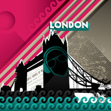 Fototapety Urban designed banner with tower bridge.