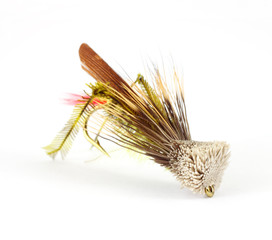 Single fly-fishing grasshopper fly