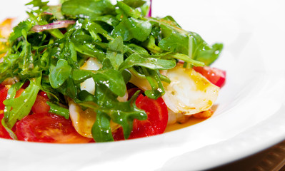 Tasty ruccola salad on a plate