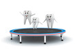 Tooth family jumping on trampoline