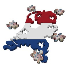 Netherlands Map flag jigsaw with euro pieces illustration