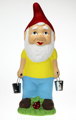 single garden gnome against a white background