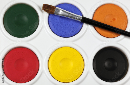 close up of a children's watercolour paint palette