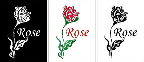 three version of vector rose