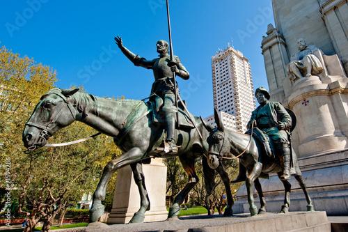 Aluminium Madrid Don Quixote, Sancho Panza and Cervantes