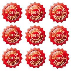 Siegel-Set  100 Prozent Service, Qualität usw.