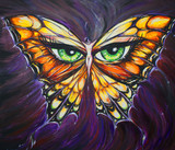 Woman-butterfly acrylic painted. poster