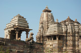 Hindu temples in Khajuraho,India,famous sacred place poster