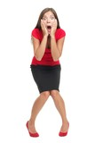 Shocked and surprised woman isolated in full length - 21600049