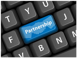 PARTNERSHIP key on keyboard (vector handshake business) poster