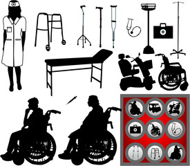 large collection of symbols of medicine