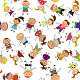 Fototapety vector seamless background with kids