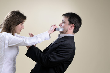 business people simulating conflict