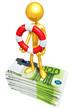 Gold Guy With Lifebuoy On Money