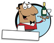 Logo Mascot-Friendly African American Male Butler Serving Wine