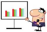 Friendly Talk Show Host Man Beside A Bar Graph Board poster