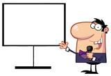 Talk Show Host Beside A Blank Board poster