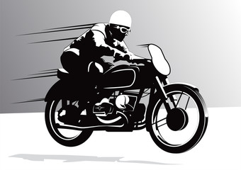 Biker on Motorcycle vector background