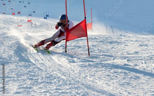 Leinwandbild Motiv Competitions on mountain ski