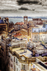 vintage cityscape view