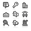 Black contour real estate web icons V2